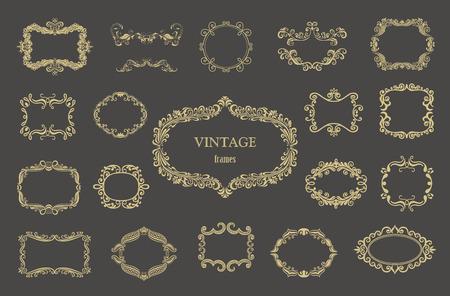 Illustration pour Set of gold vintage floral frames and monograms. - image libre de droit
