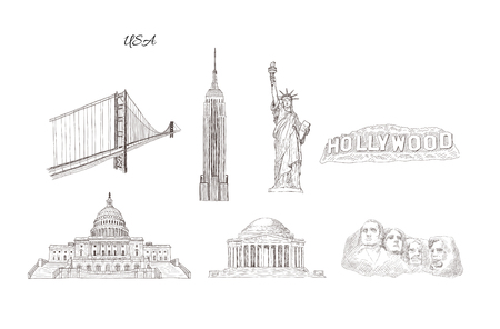 Illustration pour Set of city travel landmarks, tourist attraction in various places of United States of America. Hand Drawn Sketch Vector illustration. - image libre de droit