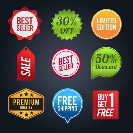 Illustration pour Set of discount badges. Sale and discounts layout. Vector illustration - image libre de droit