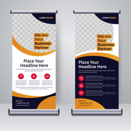 Illustration pour Corporate rollup or X banner design template - image libre de droit