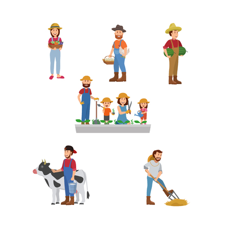 Illustration for Set Illustration of Farmer. Egg Farm, Agricultural, And Gardeners. Flat Vector Cartoon - Royalty Free Image