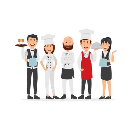 Ilustración de Set of Kitchen Staff Cartoon - Imagen libre de derechos