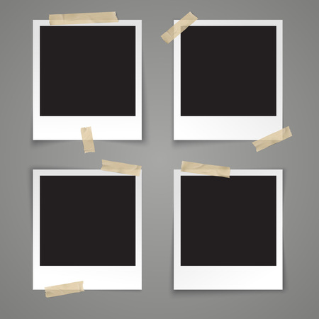 Illustration for Realistic vector illustration photo frame template with transparent adhesive tape on grey background - Royalty Free Image