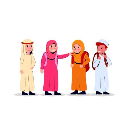Illustration pour Arabian Boys And Girls Carrying Backpack, Kids Junior School Illustration Flat Doodle Vector - image libre de droit