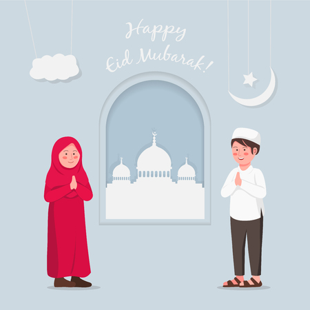 Illustration pour Eid Mubarrak Greeting Card Two Children Gesturing Praying Hand Vector Illustration - image libre de droit