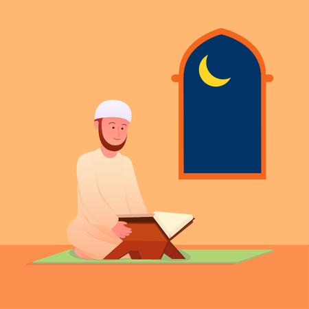 Illustration pour Muslim Man Reciting Quran, Islamic Holy Book After Praying Illustration - image libre de droit