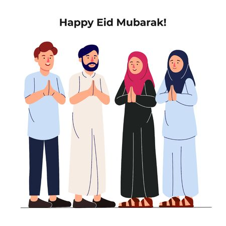 Illustration pour Set Group of Young Muslim Man and Woman Together Greeting Eid Mubarak Illustration - image libre de droit