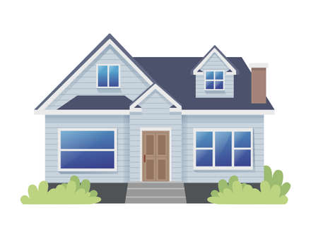 Illustration for Classic Bungalow Traditional House Illustration - Royalty Free Image
