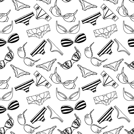 Lingeries seamless pattern. Vector underwear background design. Outline lengerie hand drawn illustration. Bras and panties doodle. Fashion feminine wallpaper.