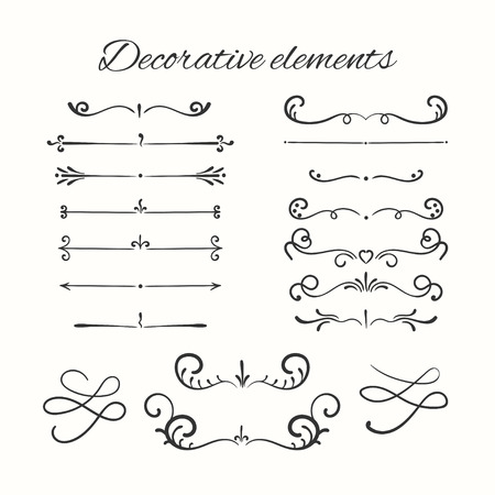 Hand drawn dividers set. Ornamental decorative elements. Vector ornate elements design.