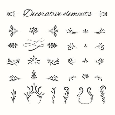 Illustration pour Hand drawn dividers set. Ornamental decorative elements. Vector ornate elements design. Flourish decorative frame. - image libre de droit