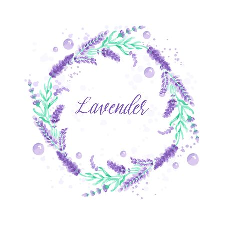 Illustration pour Lavender wreath. Watercolor imitation design with paint splashes Vector illustration Provence style. Card with floral elements. Violet flower Drawing for greeting cards, wedding invitations - image libre de droit
