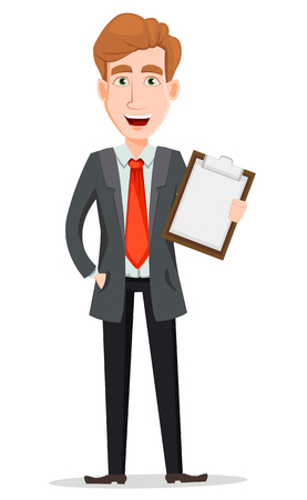 Ilustración de Business man with blond hair, cartoon character. Handsome businessman in suit holding checklist. Vector illustration isolated on white background. - Imagen libre de derechos