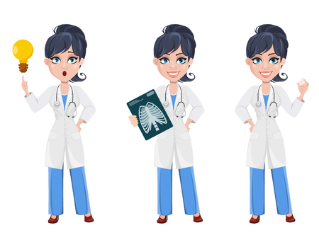 Ilustración de Doctor woman, professional medical staff. Beautiful cartoon character medic. Set with x-ray image, with a good idea and with tooth model. Vector illustration. - Imagen libre de derechos