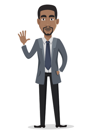 Illustration pour African American business man cartoon character. Businessman in office clothes waves hand. Vector illustration on white background - image libre de droit