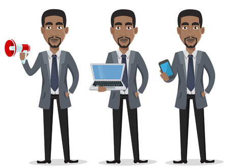 Illustration pour African American business man cartoon character set. Businessman in office clothes holds loudspeaker, holds laptop and holds smartphone. Vector illustration on white background - image libre de droit
