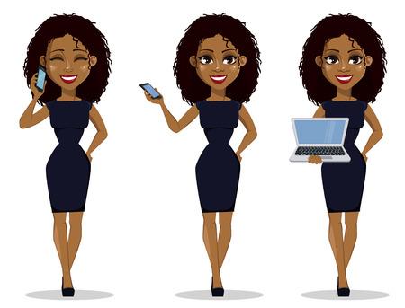 Ilustración de African American business woman cartoon character, set. Young beautiful businesswoman in smart casual clothes holding smartphone and holding laptop. Vector illustration - Imagen libre de derechos