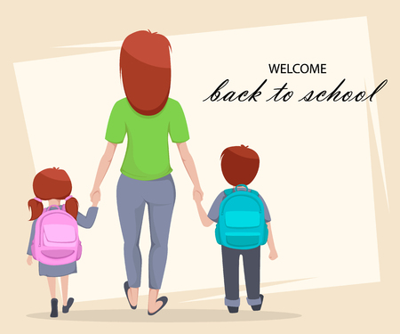 Illustration for Welcome Back to School greeting card, poster or flyer. Cartoon characters, mother with daughter and son are going to school. Vector illustration - Royalty Free Image