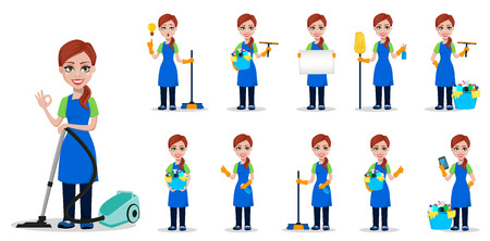 Illustration pour Cleaning company staff in uniform. Woman cartoon character cleaner, set of eleven poses. Vector illustration on white background - image libre de droit