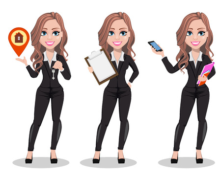 Vektor für A real estate agent cartoon character, set of three poses. Beautiful realtor woman holding key, holding clipboard and holding smartphone. Cute business woman. Vector illustration - Lizenzfreies Bild