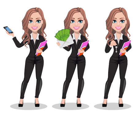Vektor für A real estate agent cartoon character, set of three poses. Beautiful realtor woman holding smartphone, holding money and holding key. Cute business woman. Vector illustration - Lizenzfreies Bild
