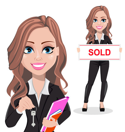 Vektor für A real estate agent cartoon character, set of two poses. Beautiful realtor woman holding key and holding banner with text Sold. Cute business woman. Vector illustration - Lizenzfreies Bild