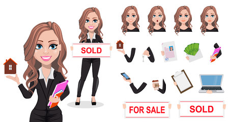 Vektor für A real estate agent cartoon character. Beautiful realtor woman. Cute business woman. Pack of body parts, emotions and things. Build your own design. Vector illustration. - Lizenzfreies Bild