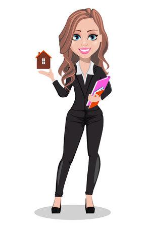 Vektor für A real estate agent cartoon character. Beautiful realtor woman holding model of house. Cute business woman. Vector illustration - Lizenzfreies Bild