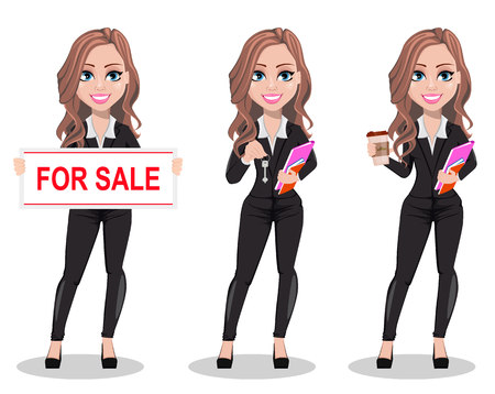 Vektor für A real estate agent cartoon character, set of three poses. Beautiful realtor woman holding banner for sale, holding key and holding coffee. Cute business woman. Vector illustration - Lizenzfreies Bild