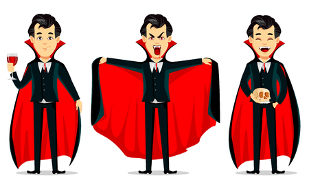 Illustration pour Happy Halloween. Vampire cartoon character wearing black and red cape. Set of three poses, holding glass with blood, making scary gesture and holding skull. Vector illustration - image libre de droit