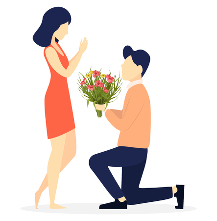 Ilustración de Valentines day. Couple in love, romantic moment, young man giving flowers to his beloved woman. Usable for 8 of March, Women day. Vector illustration on white background - Imagen libre de derechos