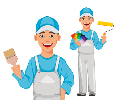 Illustration for Painter man, set of two poses. Decorator cartoon character holding paint brush and holding paint roller and color palette guide. Vector illustration on white background. - Royalty Free Image