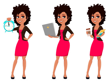 Illustration for Young African American business woman in casual clothes, set of three poses. Cartoon character businesswoman holding alarm clock, holding laptop and holding coffee. Vector illustration - Royalty Free Image