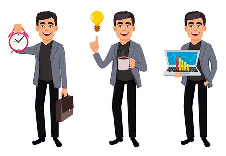 Illustration pour Business man cartoon character, set three poses. Handsome businessman holding alarm clock, holding laptop and having a good idea. Vector illustration - image libre de droit
