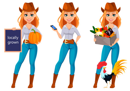 Young pretty farmer woman in cowboy hat. Cheerful gardener woman cartoon character holding pumpkin, holding smartphone and holding vegetables. Vector illustration isolated on white backgroundのイラスト素材