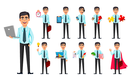 Illustration pour Business man, set of eleven poses. Cartoon character with different things. Concept of young handsome smiling businessman in office style clothes - stock vector - image libre de droit