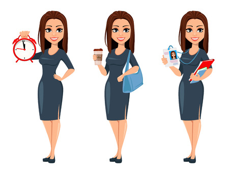 Illustration for Modern young business woman holds alarm clock, holds coffee and holds documents and badge. Cheerful cartoon character businesswoman in gray dress, set of three poses. Vector illustration - Royalty Free Image