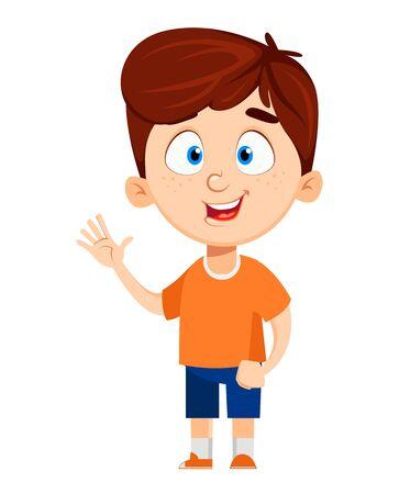 Illustration pour Boy cartoon character. Cute funny child waving hand. Fun concept. Happy kid. Colorful vector illustration. - image libre de droit