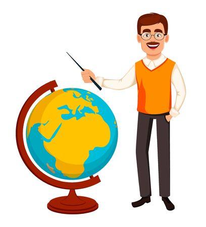 Back to school. Teacher man cartoon character stands near globe. Teacher\'s day. Vector illustration