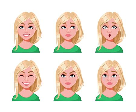 Illustration for Face expressions of cute blonde woman. Different female emotions, set of six poses. Beautiful lady cartoon character. Vector illustration isolated on white background. - Royalty Free Image