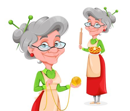 Illustration for Cute smiling old woman, set of two poses. Happy Grandparents day. Cheerful grandmother cartoon character. Vector illustration on white background - Royalty Free Image