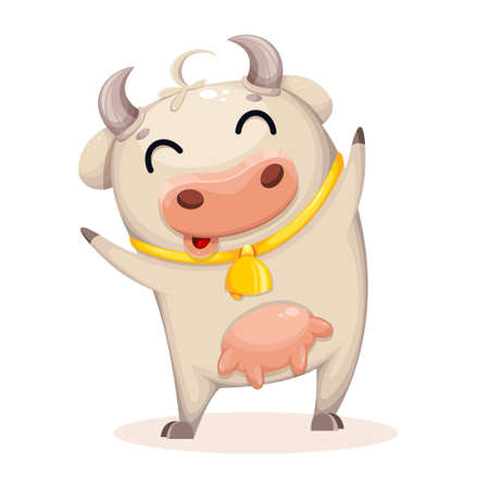 Photo pour Cute cow cartoon character. Chinese New Year. Year of Bull 2021. Vector illustration - image libre de droit