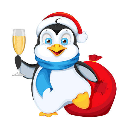 Illustration for Cute penguin holding a glass of champagne. Merry Christmas and Happy New Year. Funny penguin cartoon character. Vector illustration on white background. - Royalty Free Image