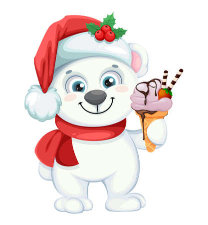 Illustration pour Cute polar bear cartoon character with ice-cream. Merry Christmas and Happy New Year. Vector illustration on white background - image libre de droit
