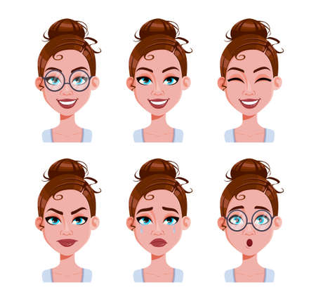 Illustration pour Stock vector. Face expressions of woman with brown hair. Different female emotions set. Beautiful cartoon character in flat style. Vector illustration - image libre de droit