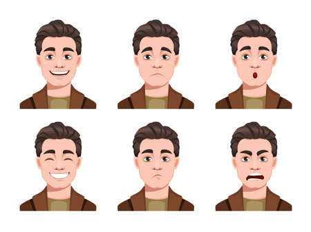 Illustration pour Face expressions of handsome man. Different male emotions set. Young guy cartoon character. Stock vector illustration on white background - image libre de droit