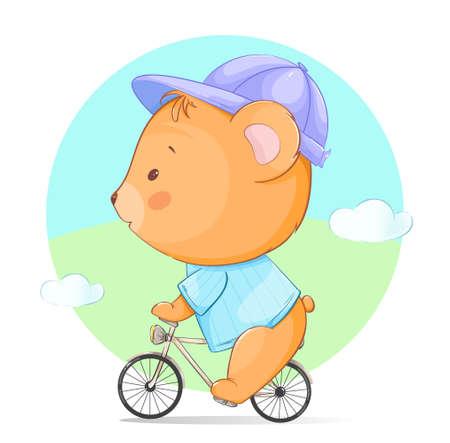 Vektor für Cute little bear riding a bicycle. Funny cartoon character bear. Stock vector illustration - Lizenzfreies Bild