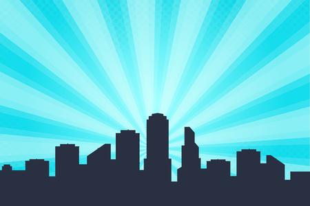 Ilustración de Comic book style background, big city skyline outlines. Silhouette of a beautiful cityscape in the background - Imagen libre de derechos