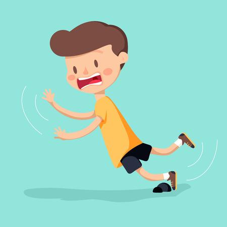 Illustration pour Boy was stumbling on rock while walking. Vector illustration - image libre de droit