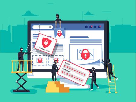 Ilustración de Hackers robbing computer. people in black masks stealing data and money. - Imagen libre de derechos